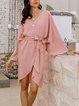 Pink Cotton-Blend A-Line 3/4 Sleeve Solid Dresses