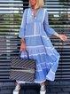 V-Neck Long Sleeve Blue A-Line Casual Maxi Dress
