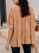 Light Khaki Short Sleeve Silk-Chiffon Shirts & Tops