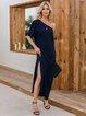 Black One Shoulder Solid Chiffon Cold Shoulder Dresses
