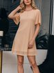 Apricot Casual Crew Neck Solid Dresses