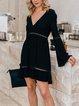 Black Solid V Neck 3/4 Sleeve Boho Dresses