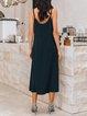 Black Spaghetti-Strap Solid Swing Spaghetti Dresses