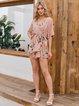 Pink V Neck Chiffon Holiday A-Line Dresses