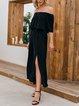 Black Solid Boho Dresses