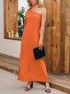 Orange Solid Sexy Dresses