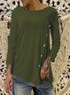 Long Sleeve Vintage Crew Neck Cotton-Blend T-Shirts