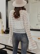 White V Neck Lace Bell Sleeve Shirts & Tops