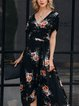 Black Swing Floral Short Sleeve Chiffon Dresses