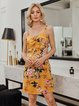 Yellow Sleeveless Spaghetti Dresses