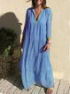 Blue Casual V Neck Cotton-Blend Dresses