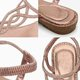 Rhinestone Champagne Open Toe Leather Rhinestone Elegant Sandals