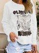Casual Plus Long Sleeve Printed T Shirt Tops Tunic