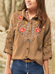 Printed Buttoned Casual Shirt Collar Shirts & Tops