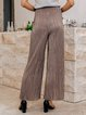 Light Khaki Solid Casual Pants