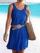 Blue Round Neck Cotton-Blend Sleeveless Dresses
