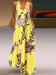 V Neck Casual Sleeveless Floral-Print Dresses