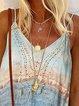 Light Blue Floral-Print V Neck Holiday Shirts & Tops