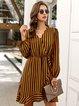 Yellow V Neck Shift Casual Dresses