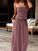 Strapless Boho Plain Dresses