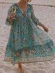 Blue Floral-Print Long Sleeve V Neck Dresses