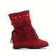 Faux Suede Adjustable Buckle Rivet Boots Ankle Tassel Womens Boots