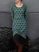 Green Cotton-Blend Vintage Tribal Dresses