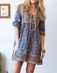 Blue V Neck 3/4 Sleeve Printed Floral Dresses
