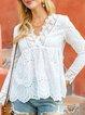 White Paneled Sweet Cotton Shirts & Tops
