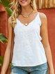 White Spaghetti-Strap Embroidered Shirts & Tops