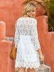 White Casual 3/4 Sleeve Crew Neck Dresses