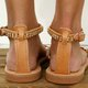Pi Clue Brown Rhinestone Flat Heel Summer Date Leather Sandals