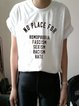 Casual Loose Simple Basic Print Short Sleeve Round Neck T-Shirt