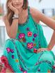 Embroidered Floral Fringed Shift Beach Cotton-Blend Dresses
