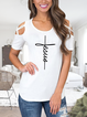 Casual Simple Basic Print Short Sleeve Round Neck T-Shirt