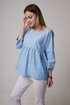 Womens Clothing Solid Paneled 3/4 Sleeve Linen Shirts