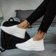Summer Flat Heel Fabric Closed Toe Casual Sneakers