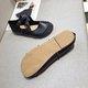 Leather Spring Flat Heel Adjustable Buckle Flats