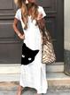 White Casual Crew Neck Animal Dresses