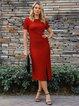 Red Sheath Short Sleeve Plain Dresses