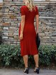 Red Sheath Short Sleeve Plain Dresses