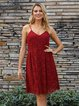 Wine Red A-Line Evening Plunging Neck Dresses