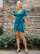 Green Sheath Short Sleeve Dresses