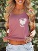 Casual Loose Simple Round Neck Print vest