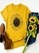 Vintage Short Sleeve Sunflower Printed Plus Size Casual Tops
