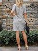Apricot Short Sleeve Shift V Neck Dresses