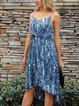 Deep Blue V Neck Cold Shoulder Ombre/tie-Dye Dresses