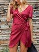 Red Shift Elegant V Neck Short Sleeve Dresses