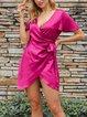 Pink Shift Sexy Plain V Neck Dresses