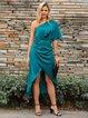 Green Short Sleeve Shift V Neck Dresses
